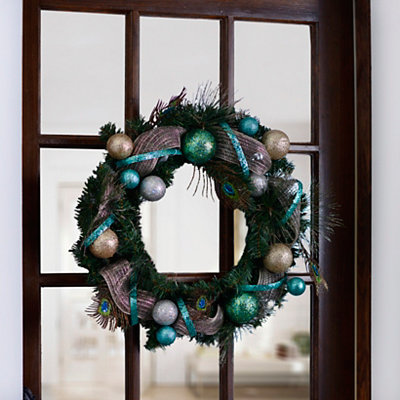 Glitzy Peacock Feather Wreath