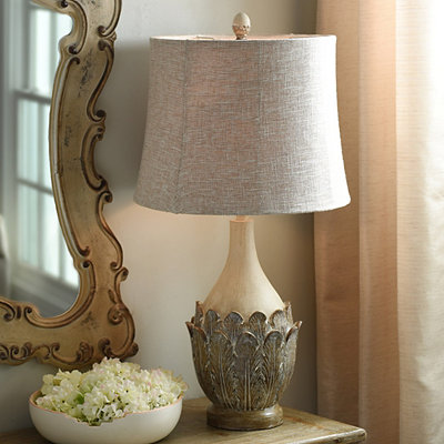 Cream Leaves Table Lamp