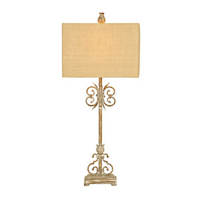 Distressed Floral Scroll Metal Table Lamp