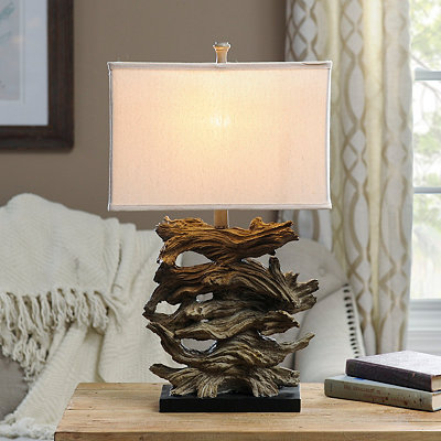 Stacked Driftwood Table Lamp