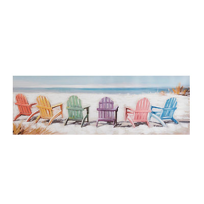 Colorful Beach Chairs Canvas Art Print