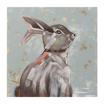 Gray Cottontail Rabbit Canvas Art Print