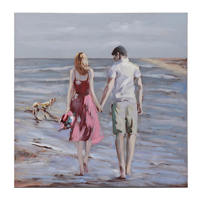 Stroll Along the Sea Canvas Art Print