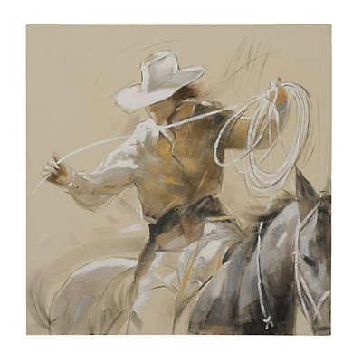 Ropin' Cowboy Canvas Art Print