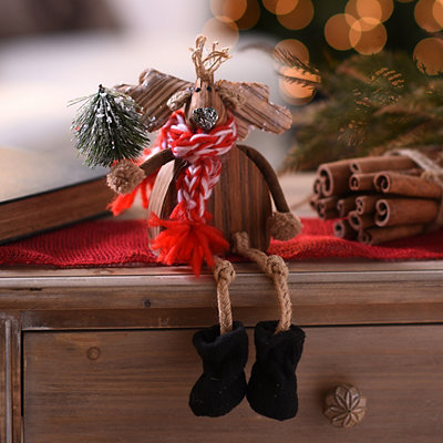 Wooden Moose Shelf Sitter
