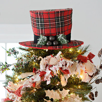 Red Plaid Top Hat Tree Topper