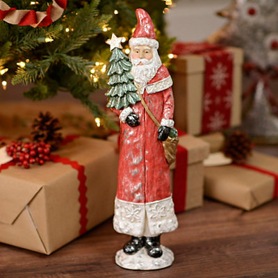 Vintage Santa with Tree Statue