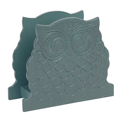Blue Owl Wood Napkin Holder