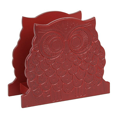 Red Owl Wood Napkin Holder