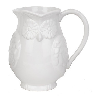White Ceramic Owl Pitcher