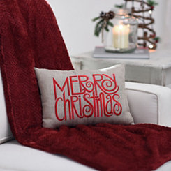 Red Merry Christmas Burlap Pillow