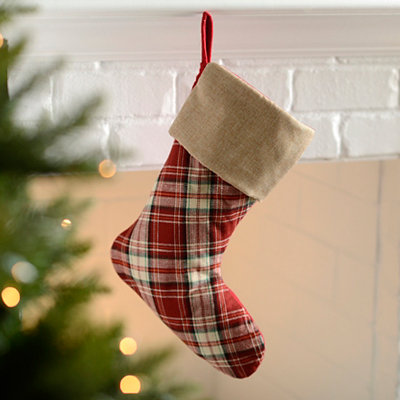 Red Tartan Plaid Christmas Stocking