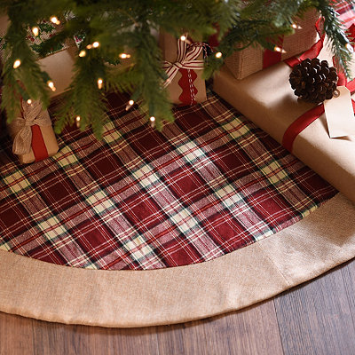 Red Tartan Plaid Christmas Tree Skirt