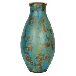 Turquoise and Gold Rhonda Vase, 23 in.