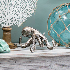 Distressed Silver Octopus Figurine