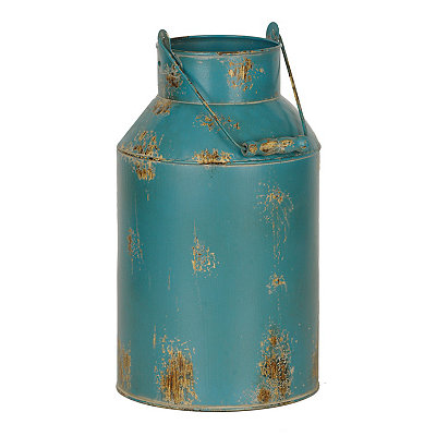 Turquoise Metal Milk Can Vase