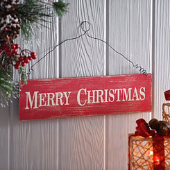 Distressed Red Merry Christmas Wall Sign