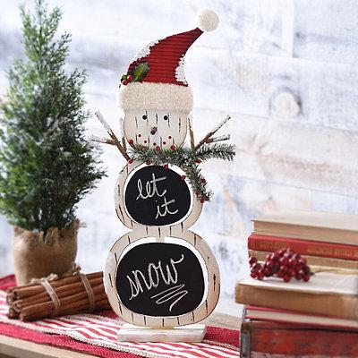 Flocked Snowman Chalkboard