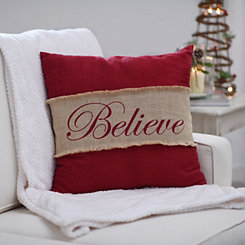 Red Believe Burlap Pillow