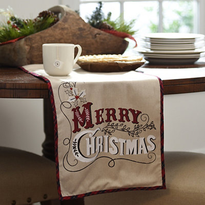 Merry Christmas Chalk Art Table Runner