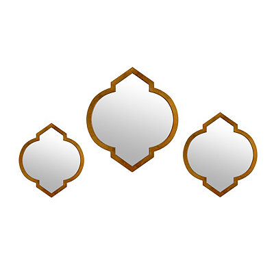 Gold Quatrefoil Mirrors, Set of 3
