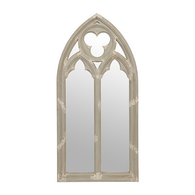 Distressed Gray Trefoil Cathedral Mirror