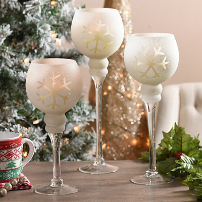 Frosted Snowflake Charismas, Set of 3