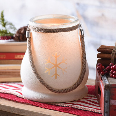Frosted Snowflake Glass Lantern