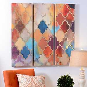 Quatrefoil Panel Canvas Art Prints, Set of 3