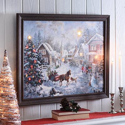 A Merry Christmas LED Framed Art Print