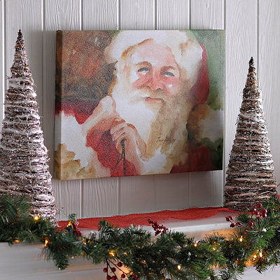 Watercolor Santa Canvas Art Print