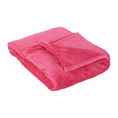 Embossed Pink Throw Blanket