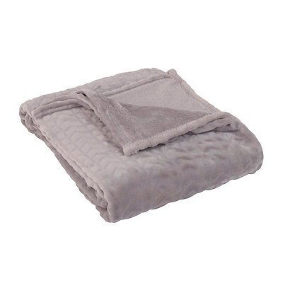 Embossed Gray Throw Blanket