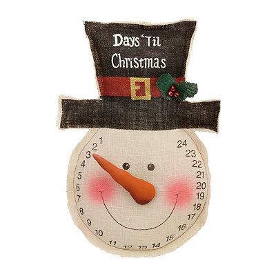 Rustic Burlap Snowman Christmas Countdown Plaque