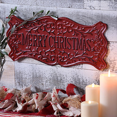 Red Merry Christmas Metal Sign