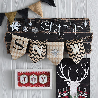 Distressed Let It Snow Banner Sign