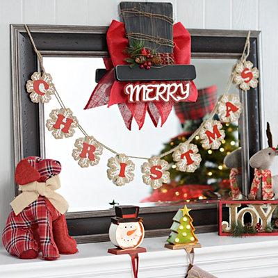 Christmas Snowflake Burlap Banner