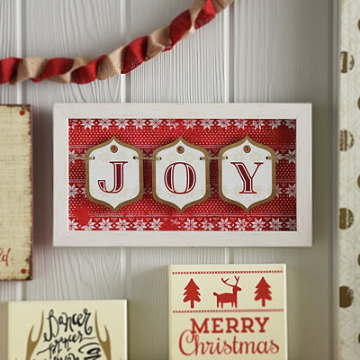 Joy Gift Tag Framed Sign