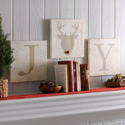 Joy Reindeer Canvas Art Prints, Set of 3