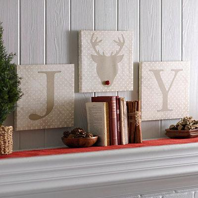Joy Reindeer Canvas Art Prints, Set of 3