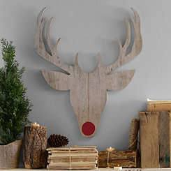 Distressed White Reindeer Head Plaque