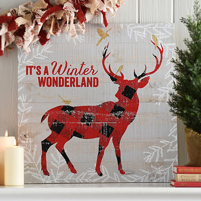 Red Plaid Reindeer Plaque