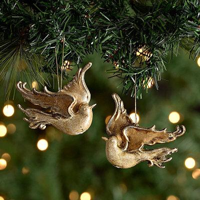 Metallic Dove Ornaments, Set of 2