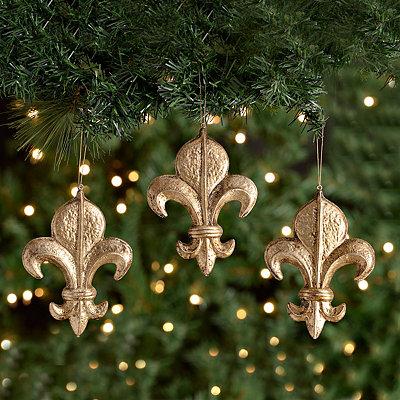 Antique Platinum Fleur-de-Lis Ornaments, Set of 3
