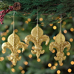 Gold Tinsel Fleur-de-Lis Ornaments, Set of 3