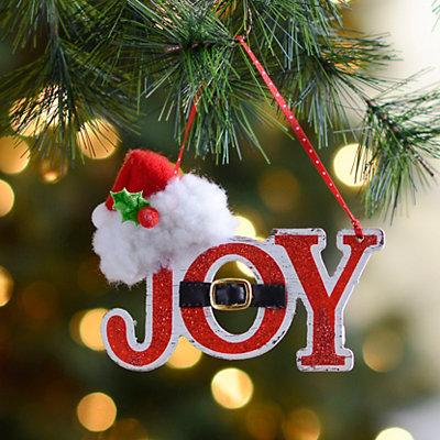 Joy Santa Hat Ornament
