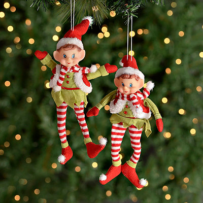 Pixie Elf Ornaments, Set of 2