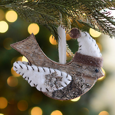Natural Birch Bird Ornament
