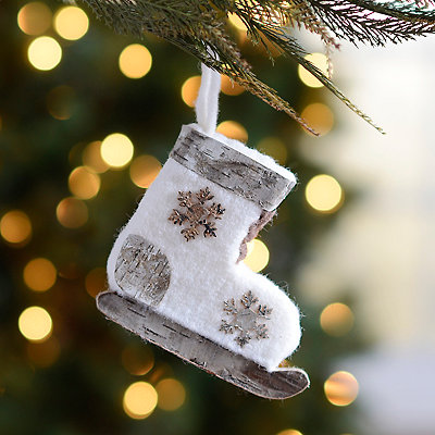 Natural Birch Ice Skate Ornament