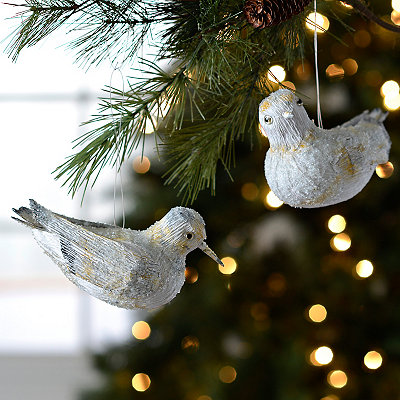 Frosted Sandpiper Ornaments, Set of 2